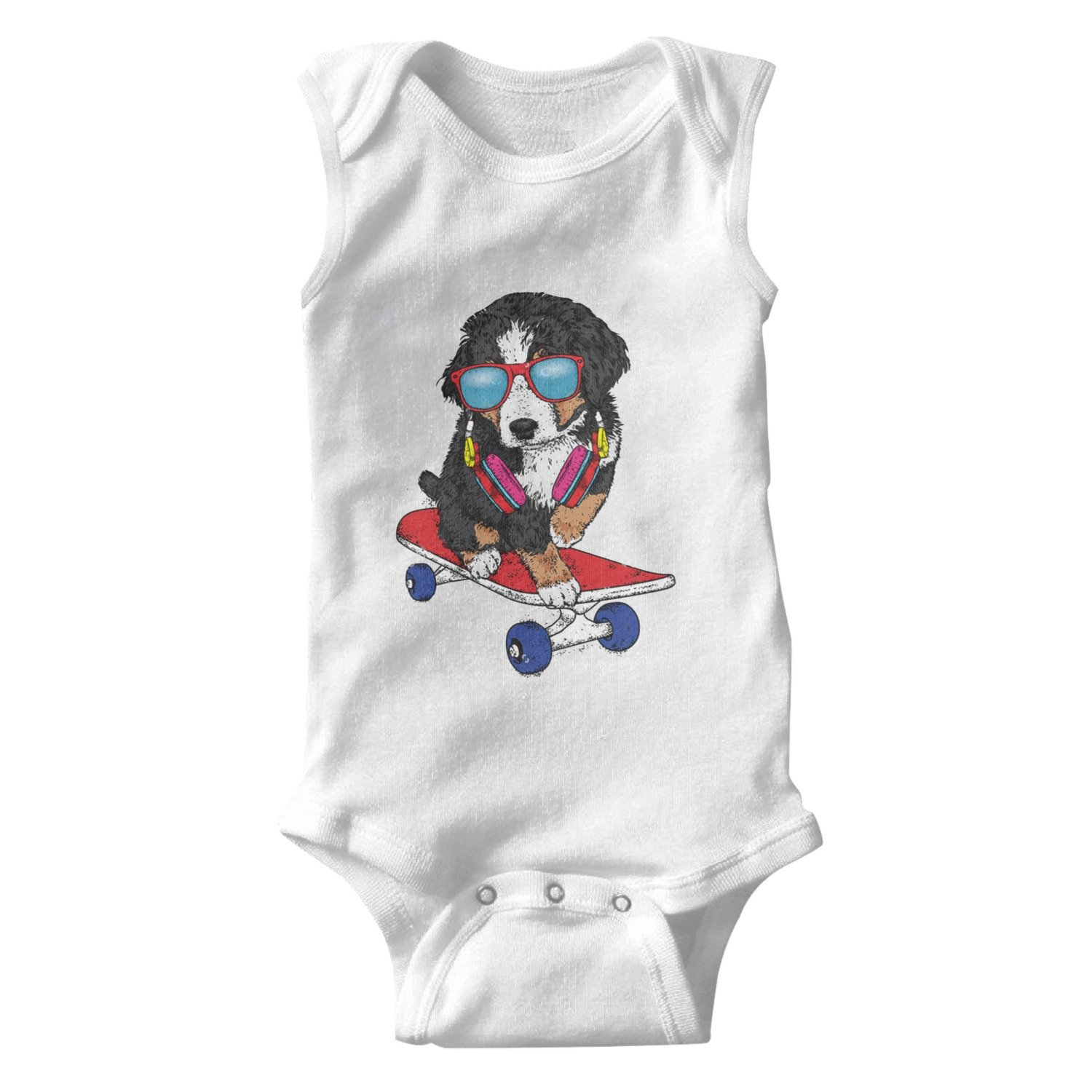 Funny Puppy Dog On Skateboard with Glasses Unisex Baby Cotton Sleeveless Baby Jumpsuit Baby Onesies White