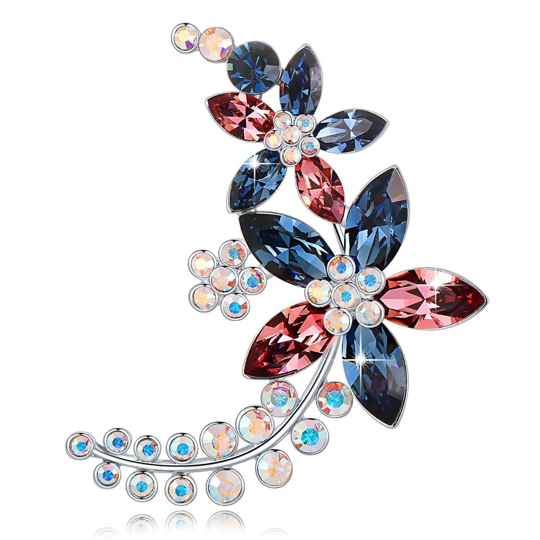 SECRET SECRET Swarovski Element Broche Bleu Fleur Design Cristaux et 5A Zircone Bijoux Cadeaux pour les femmes Les femmes, très mignonne et minimaliste dans son look DE_XZ2FlowerBrooch