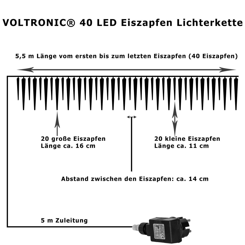 VOLTRONIC 40 LED Lichterkette Eiszapfen für innen und außen ...