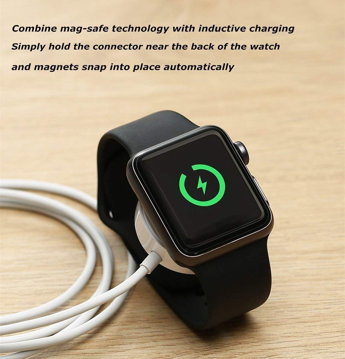 Apple Watch Charger, ATETION 1m Portable Wireless Charger for iWatch with MFI Certified Magnetic Charger for Apple Watch Series 1/2/3/Nike+/Edition/Hermès in 38mm & 42mm by ATETION (Image #4)
