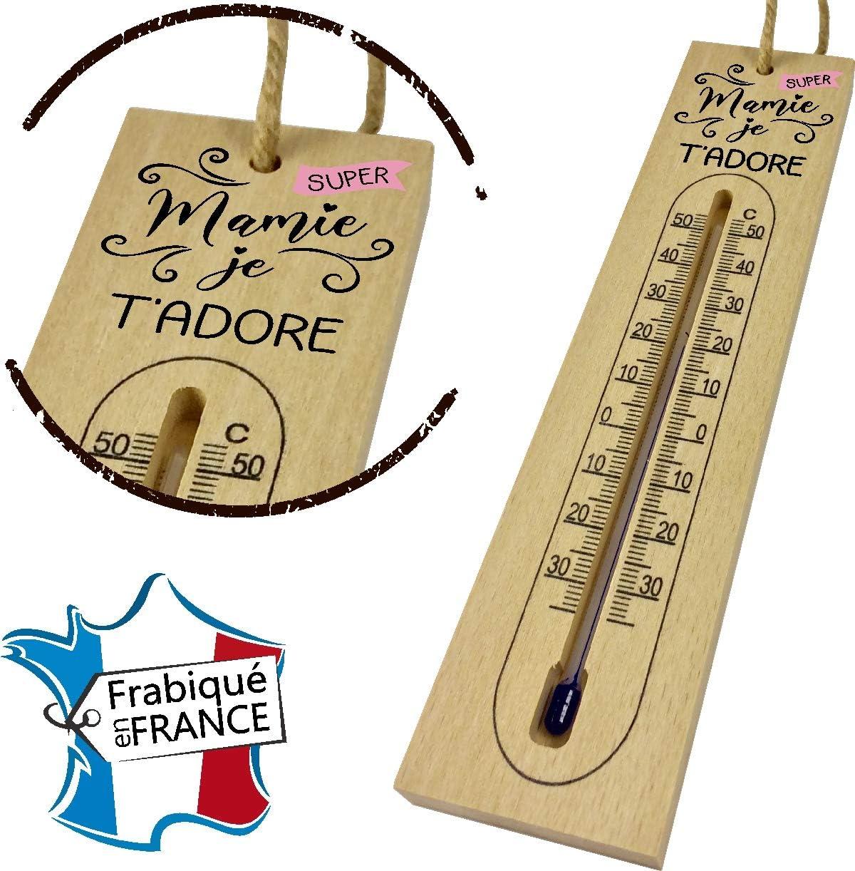 Anniversaire F/ête des Grands m/ères Thermom/ètre en Bois pour Mamie Un Beau Cadeau Original pour Mamy Thermom/ètre fabriqu/é et imprim/é en France No/ël