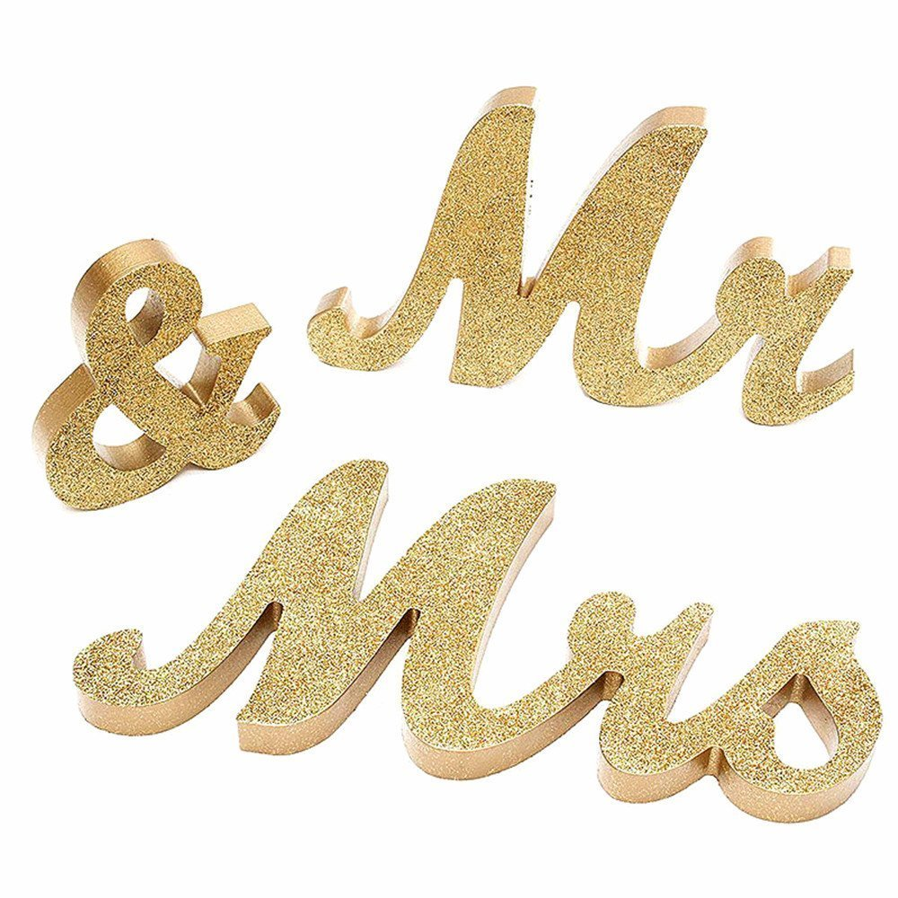 Mangadua Freestanding Mr & Mrs Wooden Signs with Glitter for Wedding Decoration Table Decor (Gold)