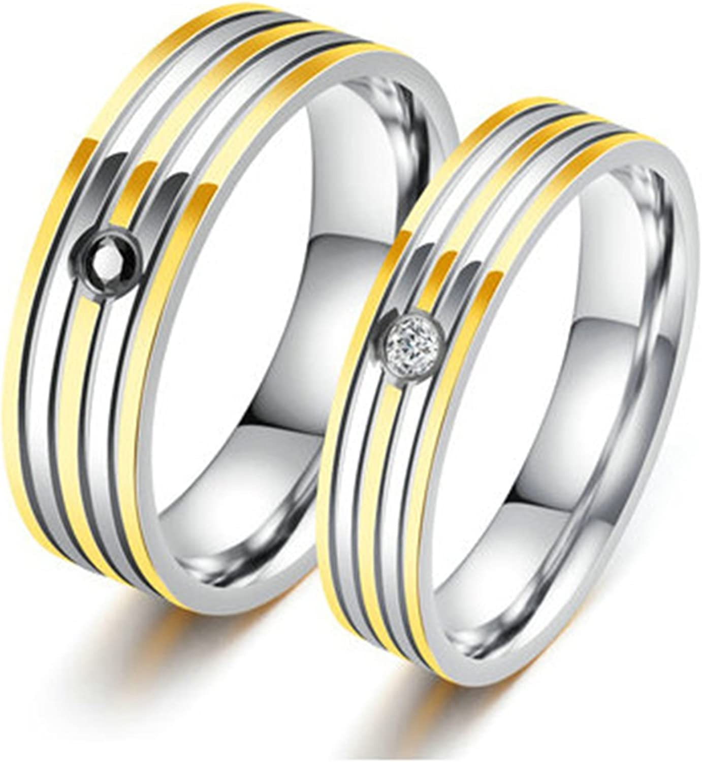 Bishilin Stainless Steel Cubic Zirconia His and Hers Matching Set Wedding Band Engagement Rings Women Size 7 /& Men Size 9