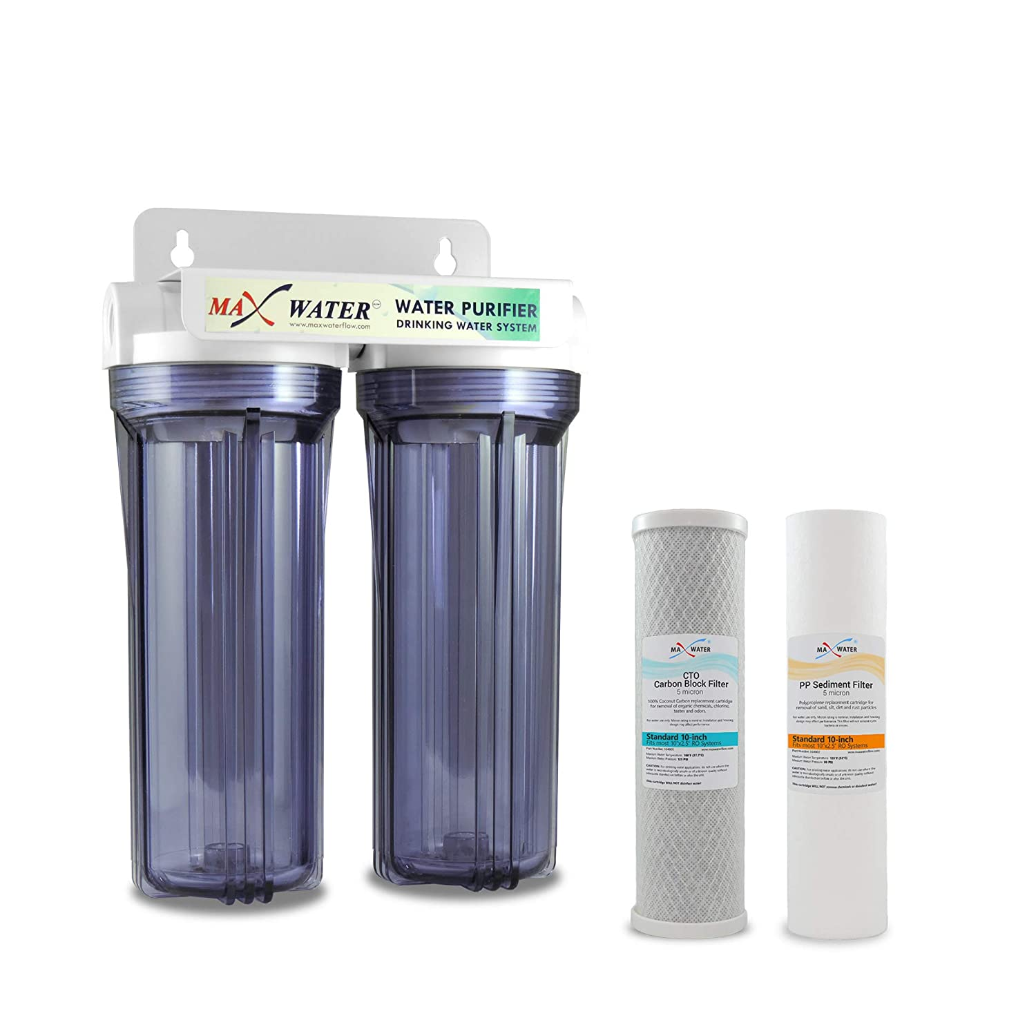 """10"""" Whole House 2 Stage Water Filter System, Clear Filter Housing w/ 10"""" x 2.5"""" 5-Micron Polypropylene Sediment, CTO Carbon Water Filters Good for RVs/Well Water/Pool/Boiler"""