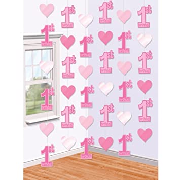 21m First 1st Birthday String Decoration Hearts Party Pink Hanging Wall Door Babies Baby