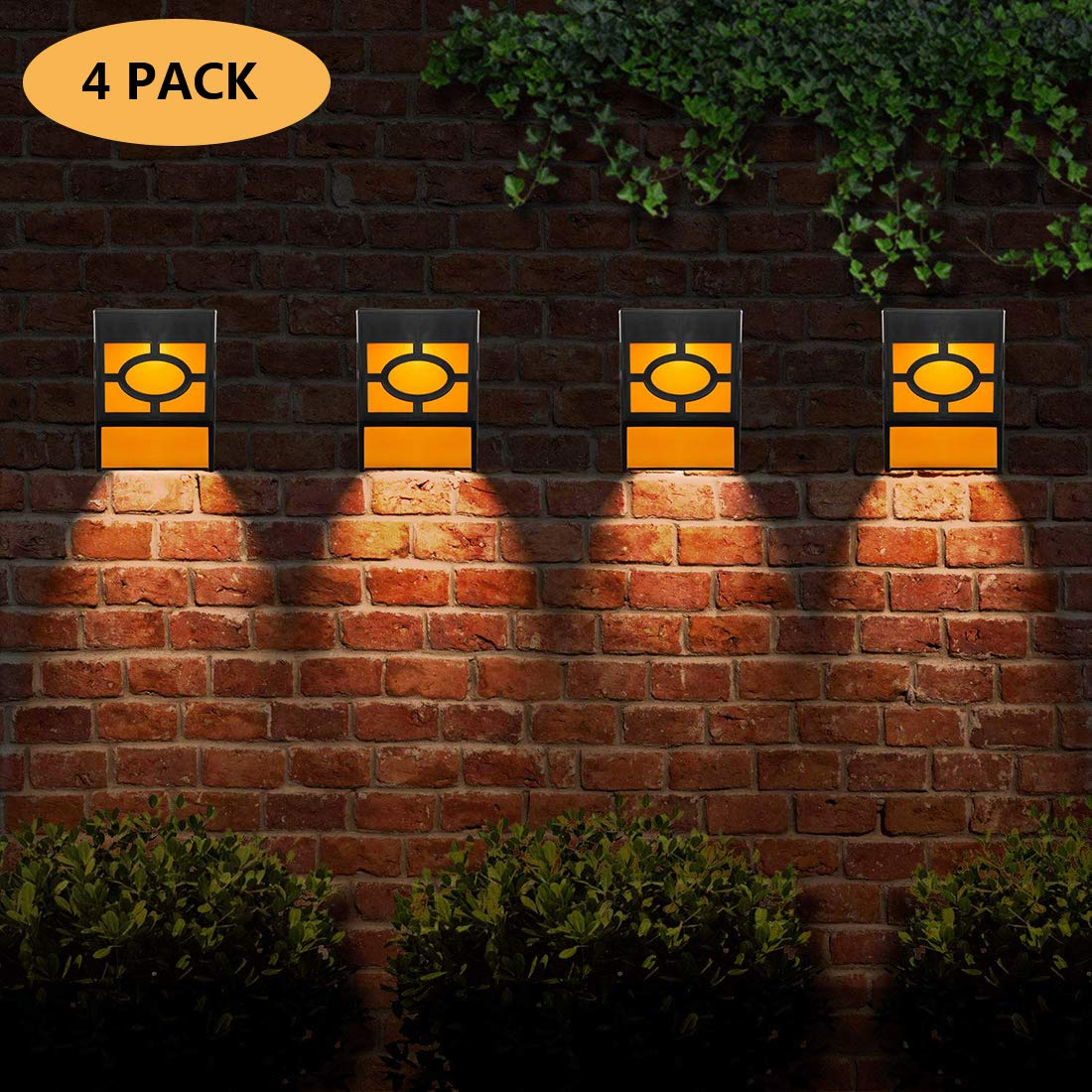 Solar Wall Lights Outdoor Waterproof LED Solar Fence Lights Decorative for Outdoor Deck, Courtyard, Stairs, Path, Front Door, Landscape, Pack of 4