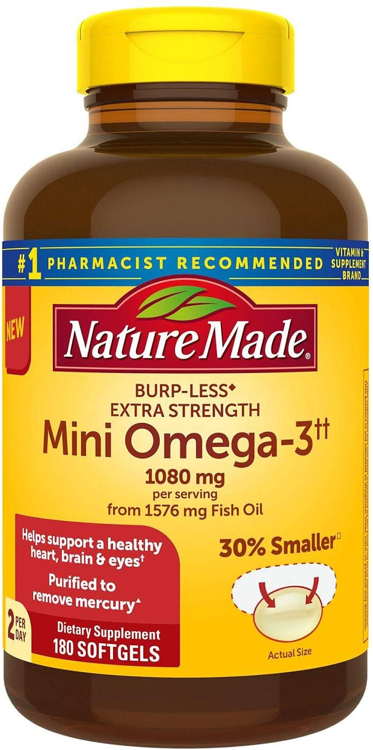 Nature Made BurpLess Extra Strength 1080mg Mini Omega 3 Fish Oil (180 ct.)