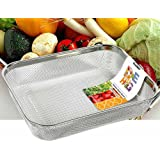 Rectangle Strainer Stainless Steel Mesh Sink Basket L12×D9.2×H2.3(inch) Vegetable Fruit Colander Strainer Kitchen Tools 1pcs