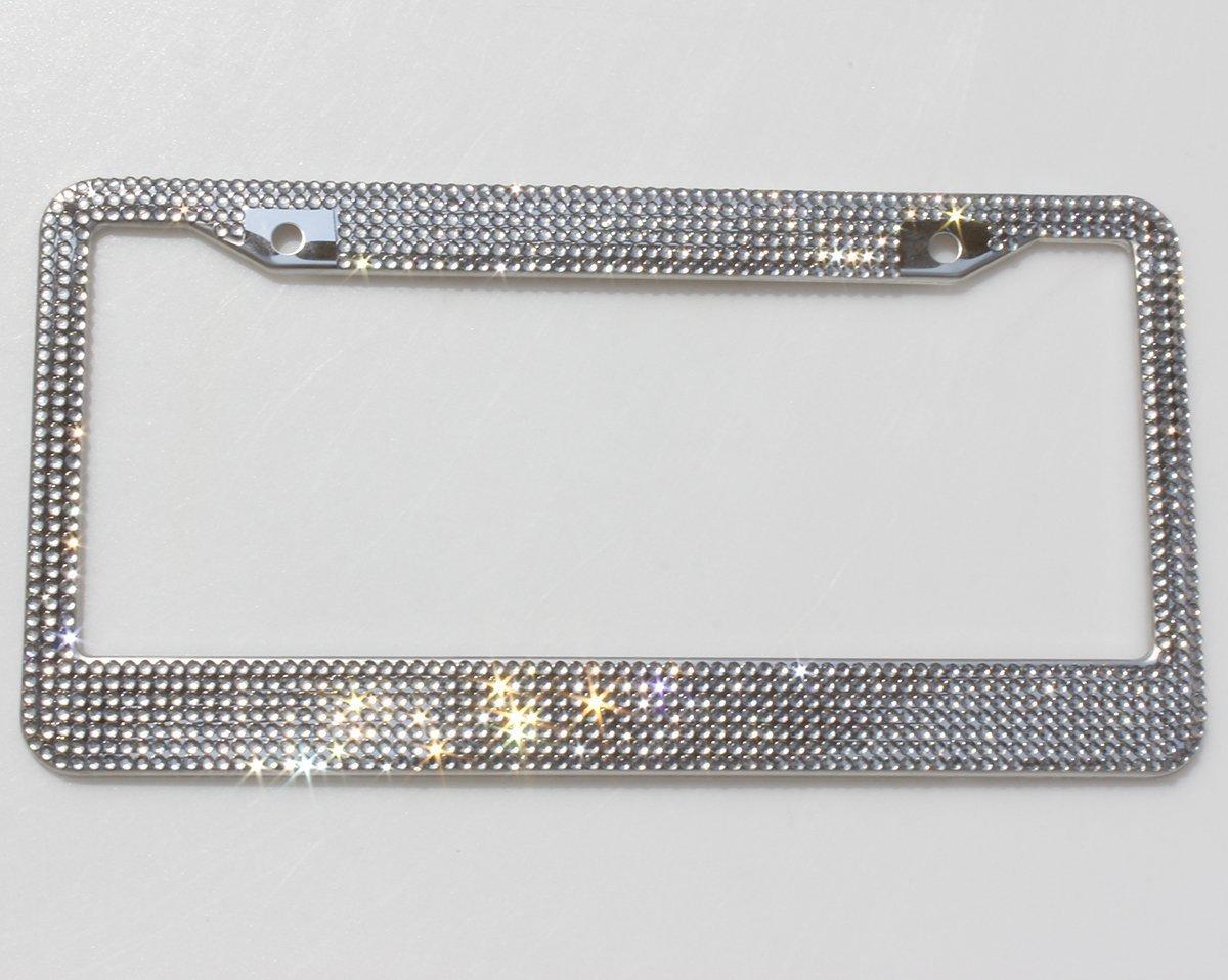 Ltd Carfond 1 Row Pure Handmade Waterproof Bling Bling Selected Rhinestones License Plate Frame Bonus 4 Matching Screws/&Caps Silver//Pink Crystal XiaMen Superior International Trading Co