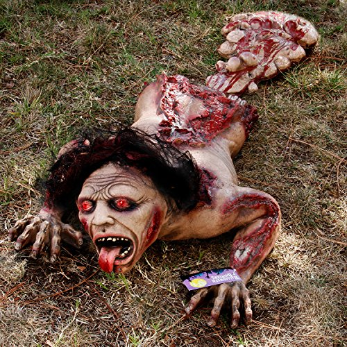 Halloween Haunters 45'' Animated Crawling Human Zombie Torso Prop Decoration - Animatronic Crawl Rubber Latex Moaning Dead Man - Battery Operated by Halloween Haunters (Image #1)