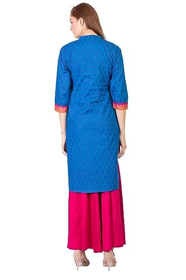 Women Designer Printed Straight Kurta Kurti top Tunic Dress