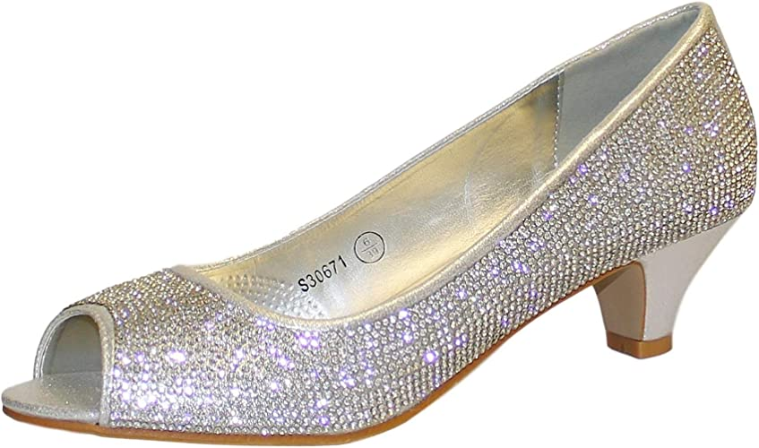 Ladies Diamante Satin Shoes Low Mid Kitten Heel Sparkly Slingback Evening Shoes