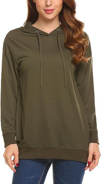 Hotouch Women Long Sleeve Sweatshirt Pocket Fleece Tunic Slim Fit Hoodie Black L