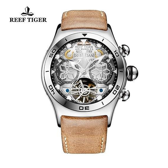 Reef tigre luminoso Sport para hombre reloj con fecha de año mes día blanco esqueleto Tourbillon