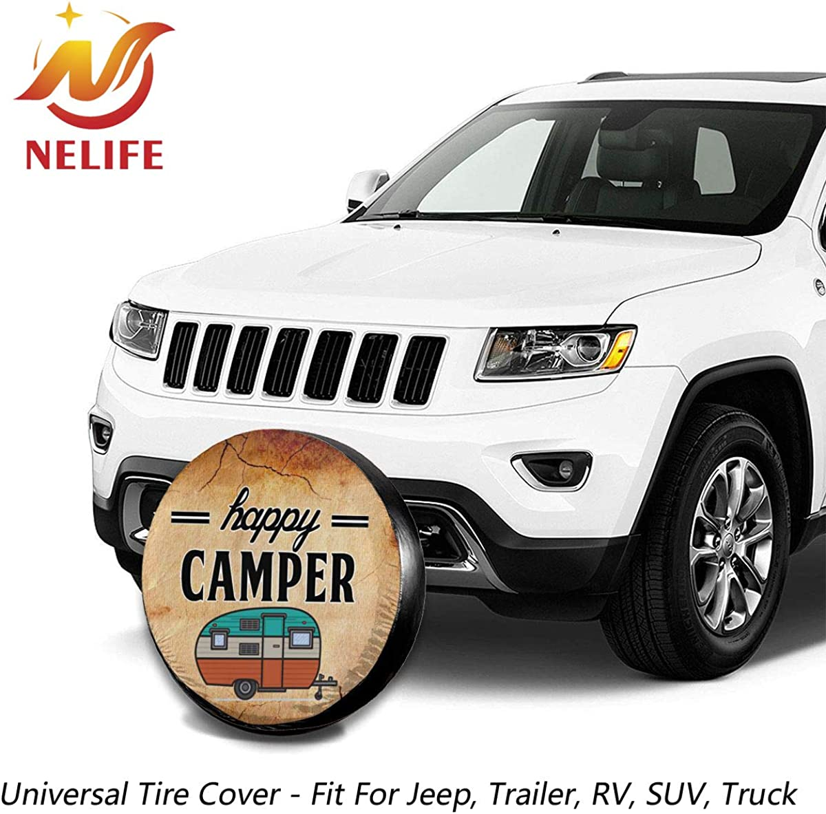 NELife Tire Cover Happy Camper Camping Polyester Wheel Tire Cover Potable Universal Wheel Covers Powerful Waterproof Tire Cover Fit for Jeep Trailer RV SUV Truck Trailer Accessories 14-17 in