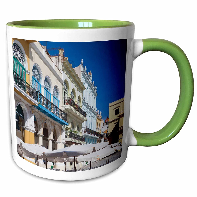 3dRose Danita Delimont - Cuba - Cuba, Havana, Plaza Vieja, renovated buildings - CA11 WBI0220 - Walter Bibikow - 15oz Two-Tone Green Mug (mug_134331_12)