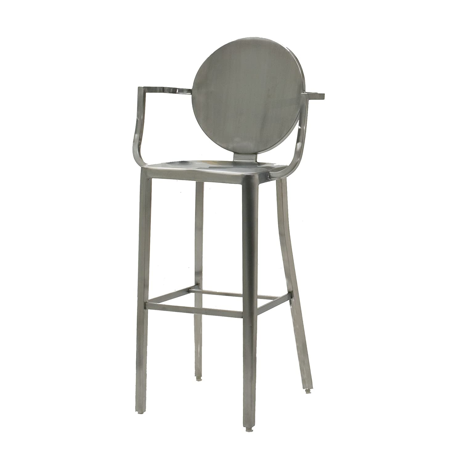 Dalton Home Collection Indoor Chair Collection Brushed Stainless Steel Round Back Bar Height Stool, 30-Inch
