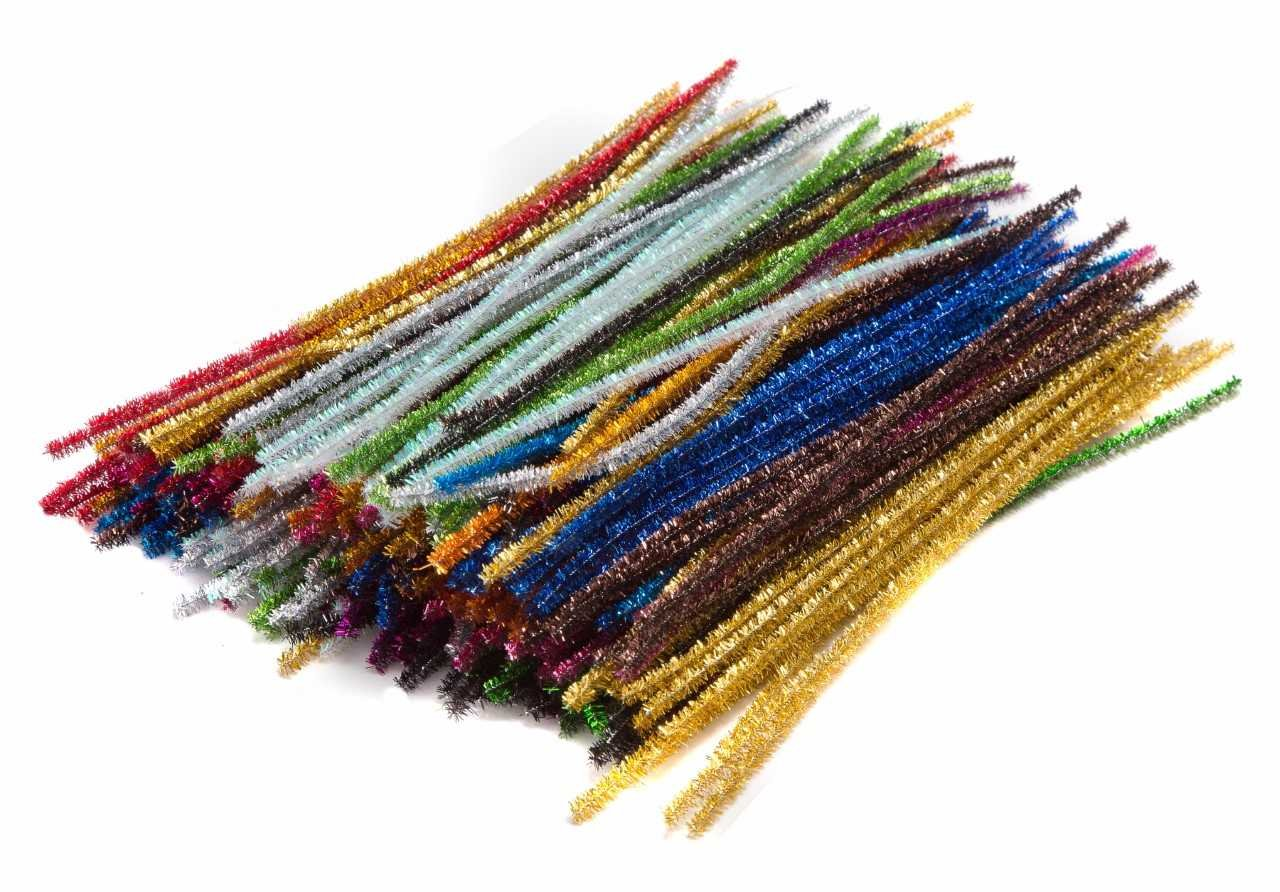 Edukit Jumbo Pack Of 300 Pipe Cleaners– 15 Assorted Holiday, Sparkly, Glitter, Tinsel Colours – 300x6mm Tinsel Colours - 300x6mm Allkit