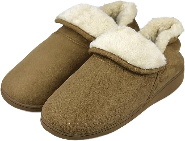 ac34d5215ff5 Dasein Men Soft Faux Fur Lined Suede House Slippers Memory Foam Slippers  Anti-Skid Winter