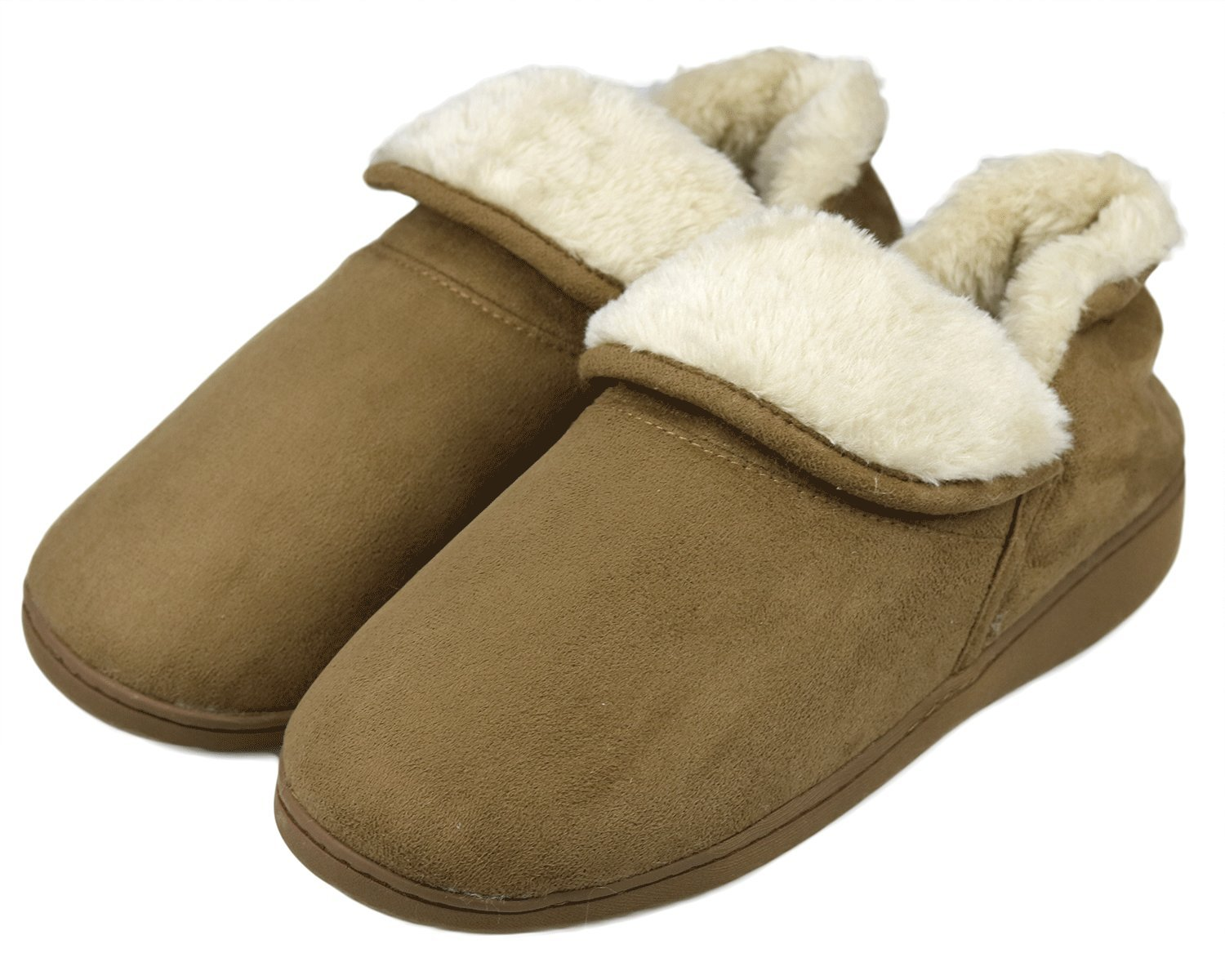 Dasein Men Soft Faux Fur Lined Suede House Slippers Memory Foam Slippers Anti-Skid Winter Indoor Outdoor Bootie Boot