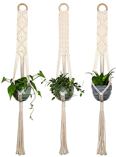 Closetique Macrame Plant Hangers House Plants Hanging Holder Hanging Planters For Indoor Outdoor Plants Basket Pots Hangers 100 Cotton Cord 40