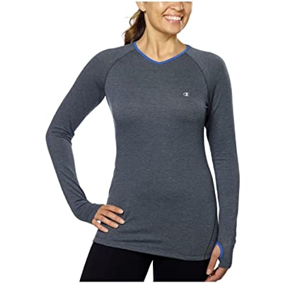 Champion Womens Active Yoga Athletic Long Sleeve Shirt (Large, Charcoal)
