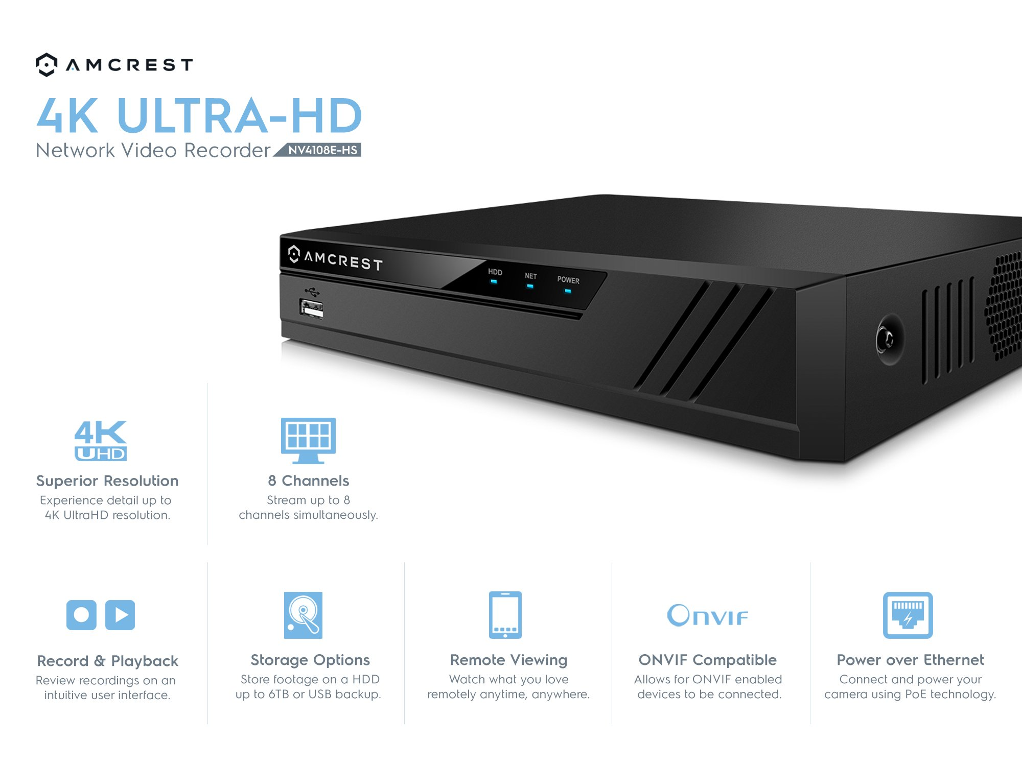 Amcrest NV4108E-HS 4K 8CH POE NVR (1080p/3MP/4MP/5MP/6MP/8MP/4K) POE  Network Video Recorder - Supports up to 8 x 8MP/4K IP Cameras, 8-Channel  Power