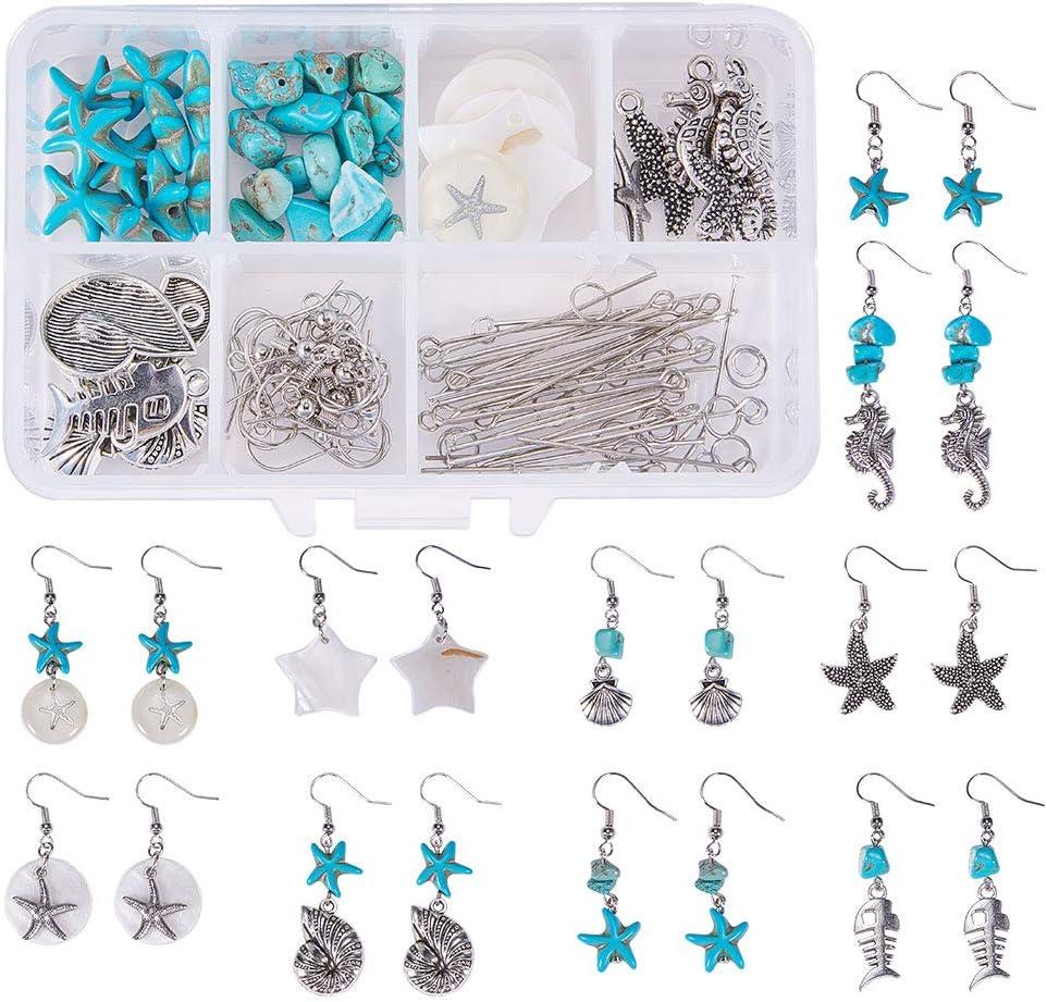 SUNNYCLUE 1 Caja DIY 10 Pares Estrella de mar Concha de Concha cuelga Pendiente Haciendo Kit de Suministros de Inicio,Tema de la Playa del océano