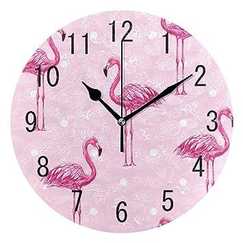 Use7 - Reloj de Pared de acrílico Redondo con diseño de pájaro y Flamenco Rosa, diseño de Acuarela, no se Hace Ruido en el salón o la Cocina: Amazon.es: ...