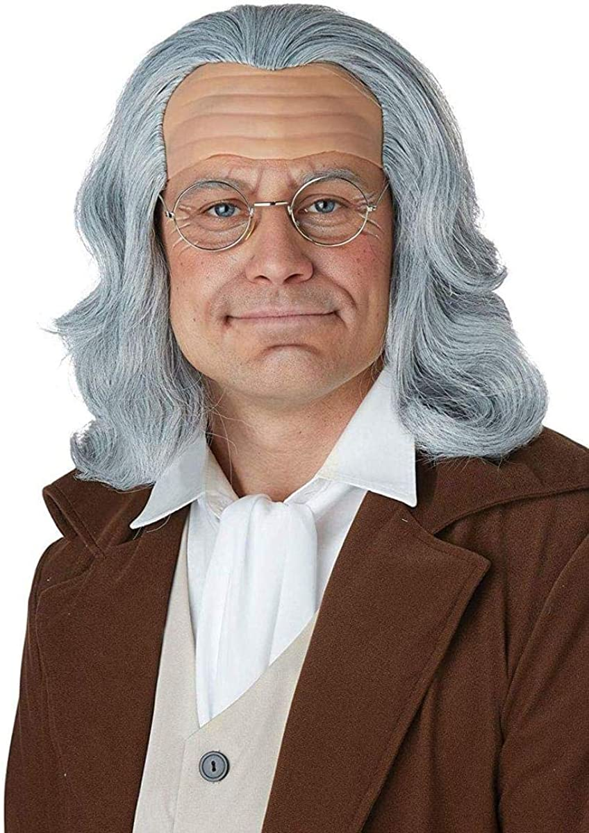 Kids Ben Franklin Wig and Glasses Heroes In History Book Report Wax Museum