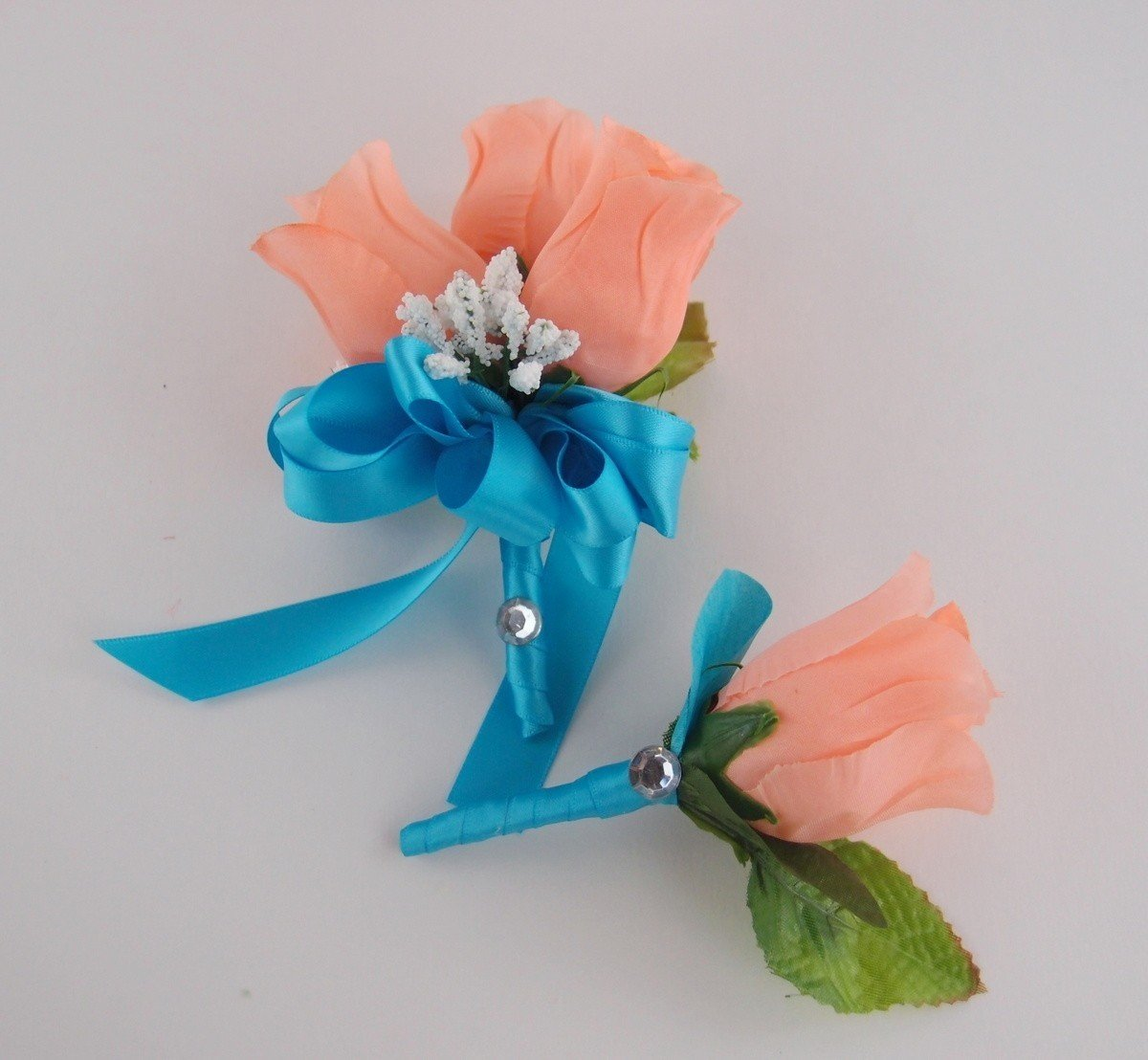 Amazon 2 Pc Set Pin Corsage And Boutonniere Peach Pink Rose