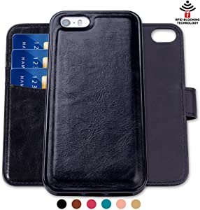 SHANSHUI Wallet Case Compatible with iPhone 5/ 5s/ SE (2016), Magnetic Detachable 2 in 1 PU Leather Flip Case with 3 RFID Card Holders and 1 Cash Pocket with Back Cover -Black (Not Fit iPhone se 2020)