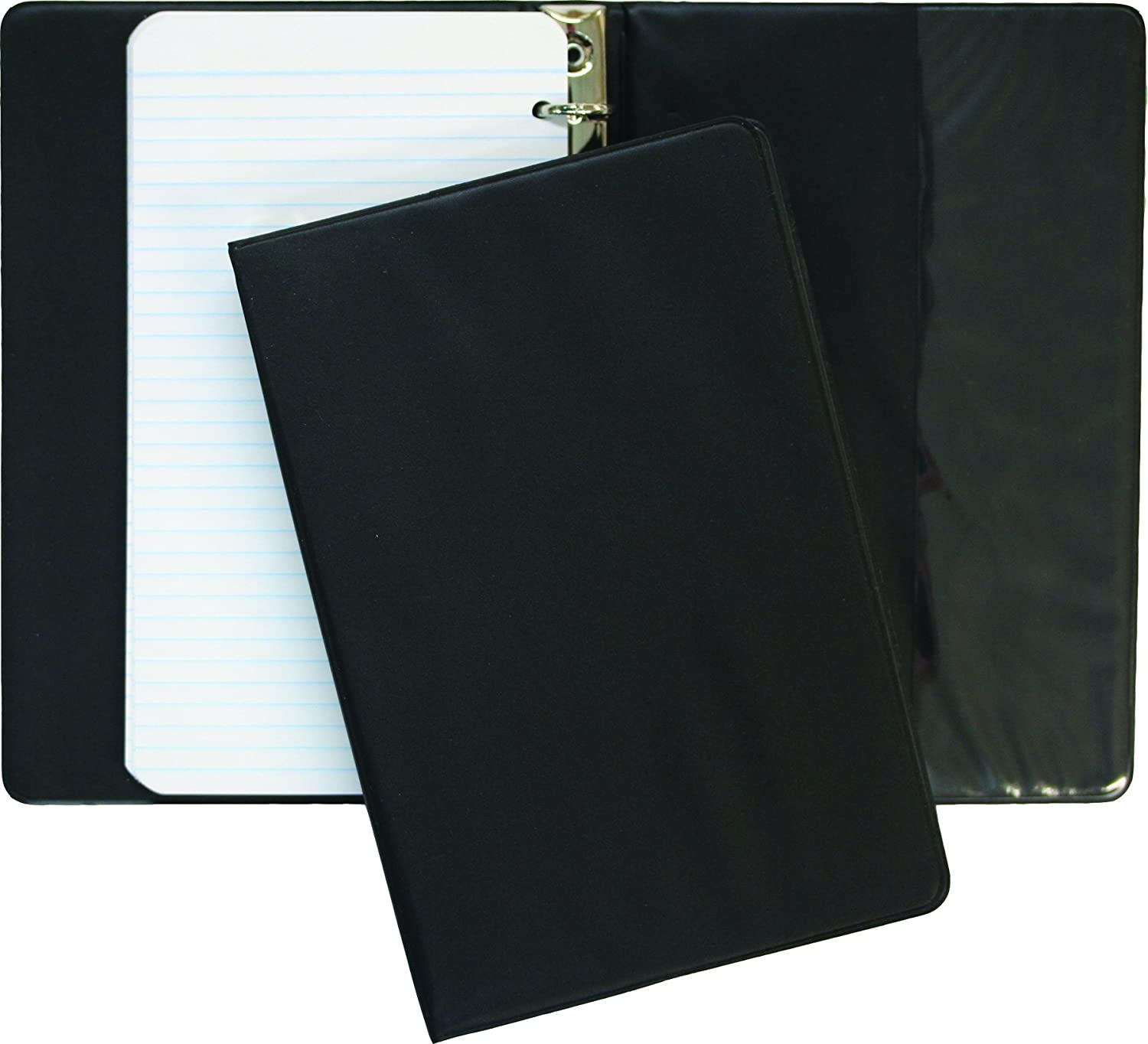Hilroy 44724 1/2 Inch Vinyl Memo Binder, 6.75x3.75-Inch, 6 Rings, Includes 50-Sheet of Ruled Paper, Black