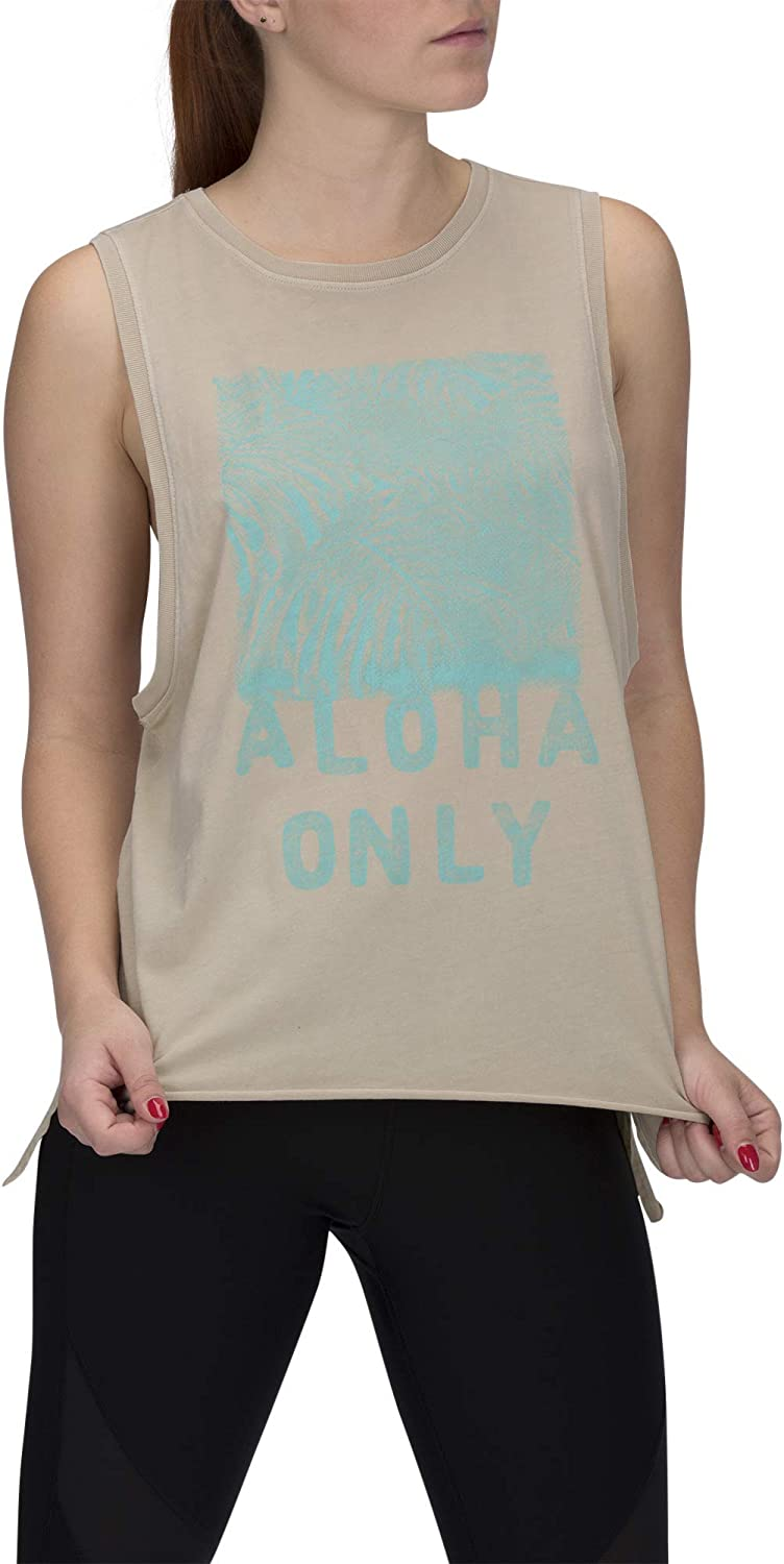 Hurley Womens Apparel Womens Washed Muscle Tank Top Desert ore Graphic M