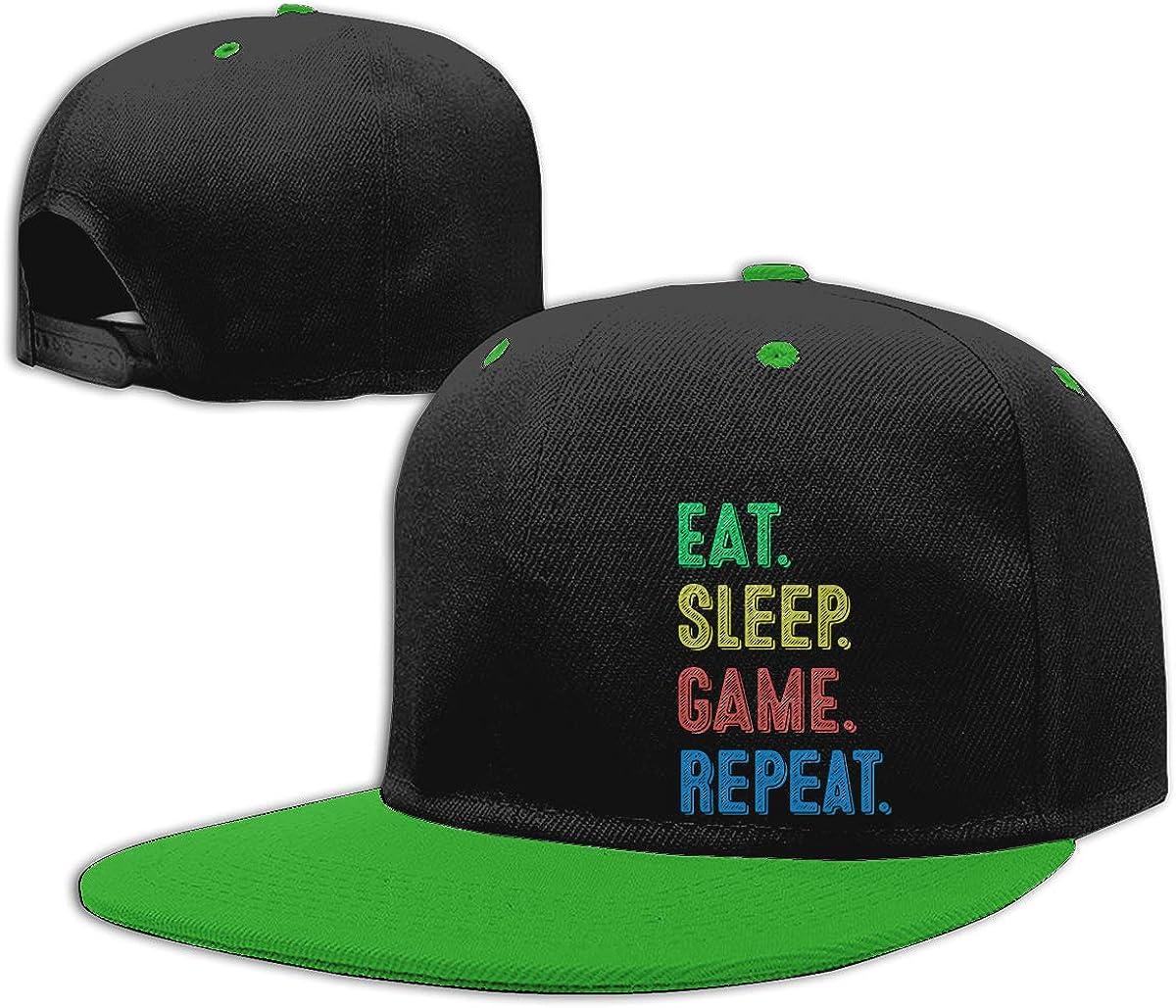 Men and Women Snapback Cap Eat Sleep Game Repeat Adults Flat Bill Baseball Caps