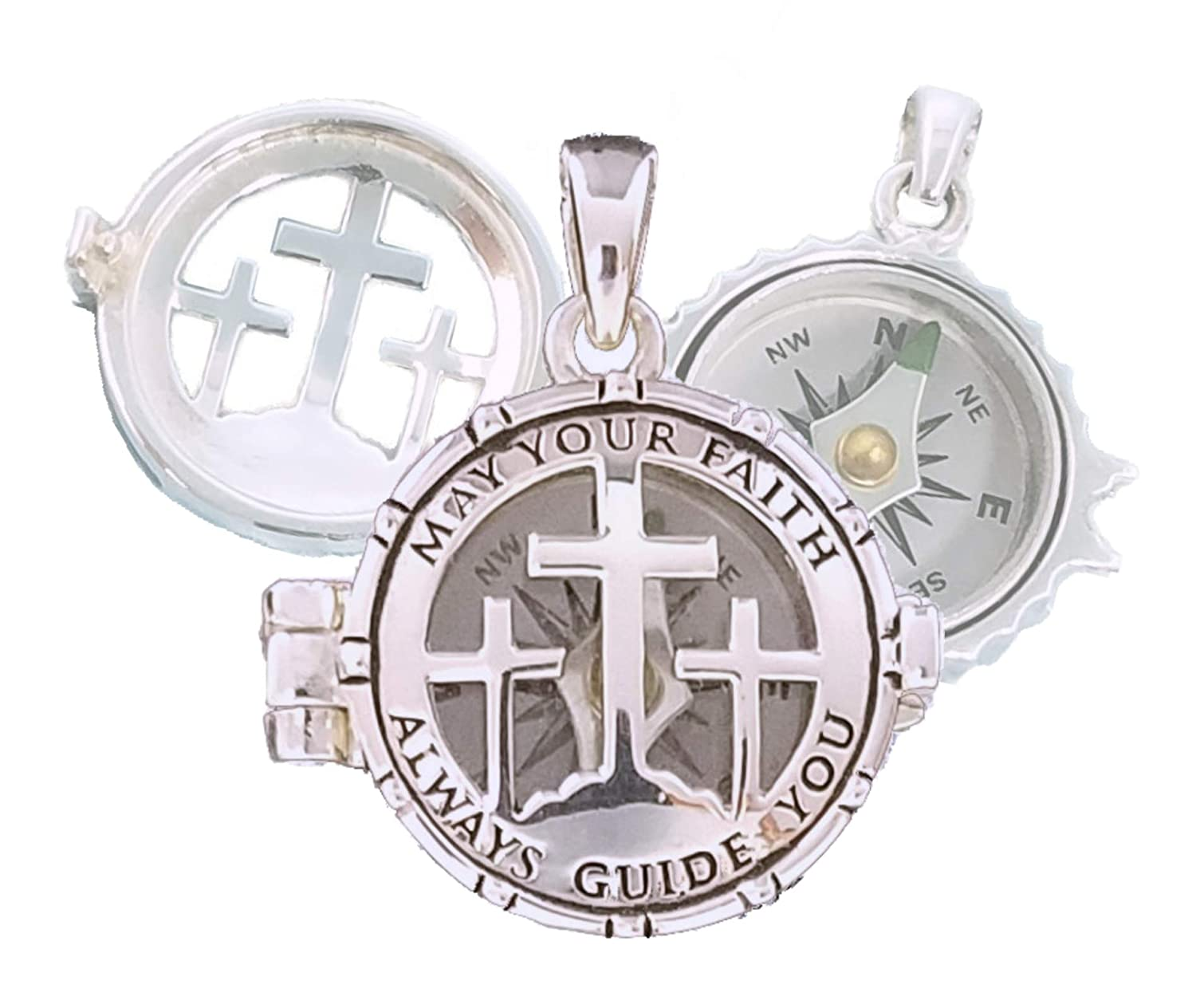 Stanley London May Your Faith Always Guide You Compass ロケット - 洗礼式、堅信礼、使命、誕生日の贈り物に最適 パーソナライズ(Personalized)  B07KCRPHP1