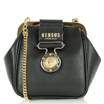 649e3663fdf Versus Versace Women's FBD1098 Black Chain Pouch Purse Black Leather ...