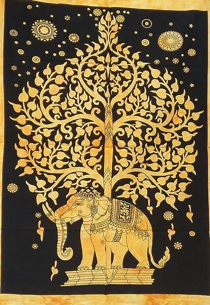 Árbol de la vida tapiz indio elefante tapices playa toalla Yoga Mat Manta Boho Trippy Hippie