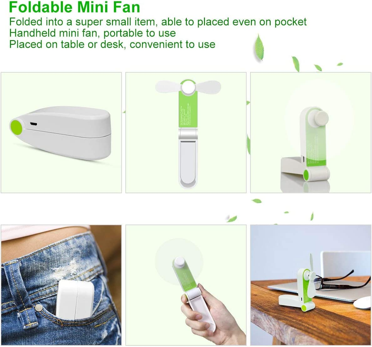 Foldable Handheld Mini Fan USB Rechageable Desktop Fan Portable Pocket Fan 2 Speeds Adjustable Personal Fan for Home Office Travel Outdoors