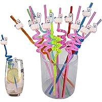 DreamJing Kawaii Lama, 20 stuks plastic rietjes voor alpaca-themafeest, met knoop, voor melk, sap, cocktails, bar…