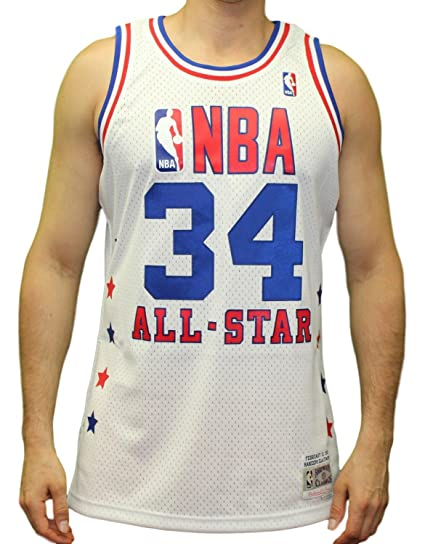 187209374 Hakeem Olajuwon NBA Mitchell   Ness White 1989 NBA All Star West Jersey For  Men (