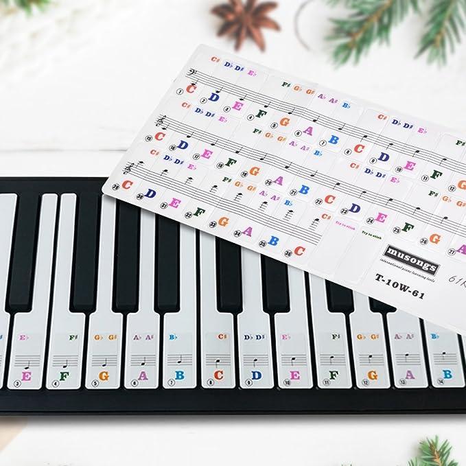 Pegatinas de Teclado de Piano para 61 Teclas de Colores Más Grandes Pegatinas de Piano Hojas para Principiantes