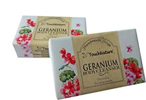 Touch Nature Geranium Handmade Soap with Dried Calendula Petals Added. All Natural. Moisturizing. No SLS and Parabens. (2pc 100gm)