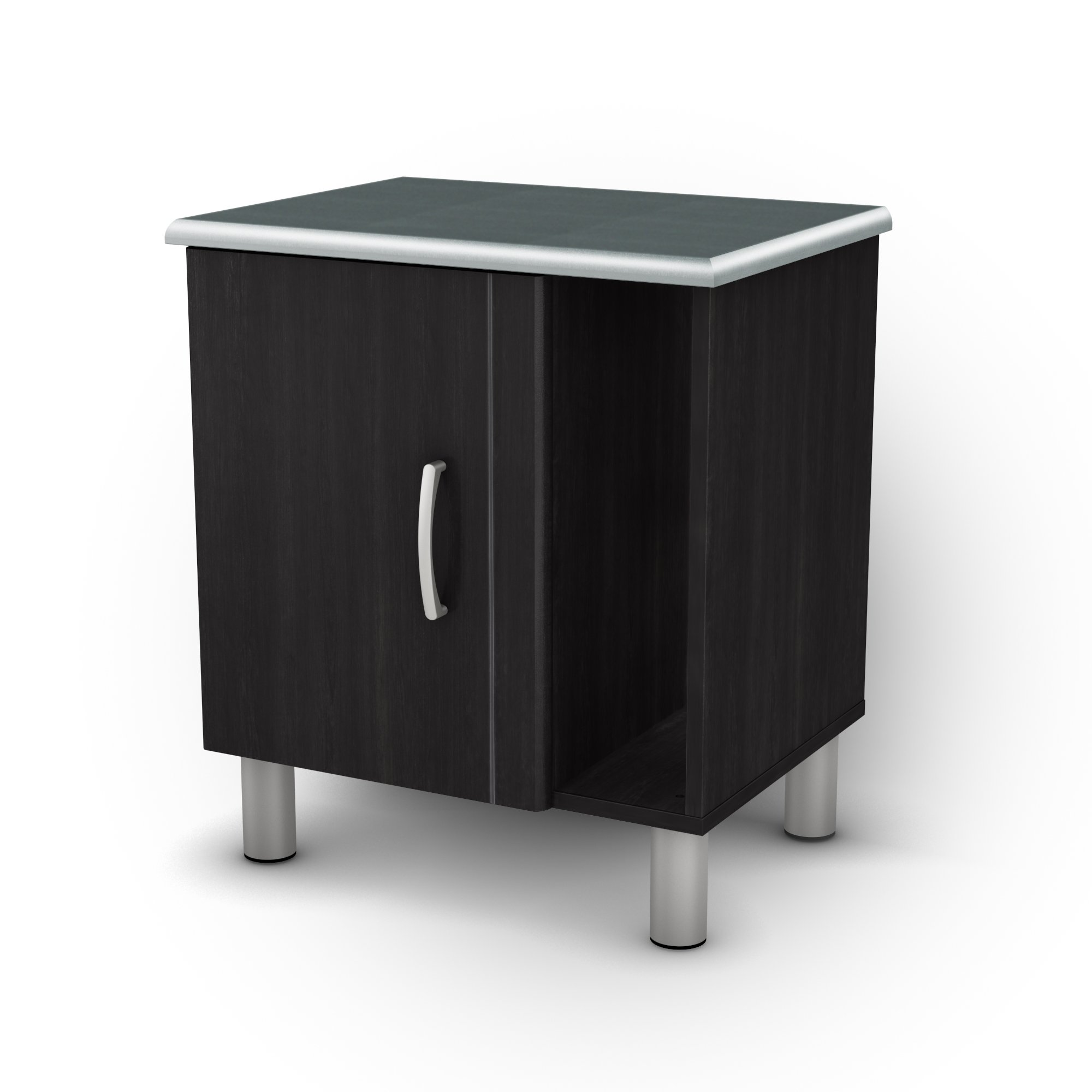 South Shore Cosmos 2-Shelf Nightstand with Cabinet Door and Open Storage, Black Onyx and Charcoal