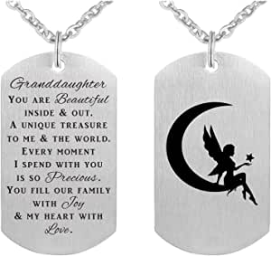 ABBNT Granddaughter Necklaces, Granddaughter Gifts Jewelry from Grandma Grandpa, Love My Granddaughter, Bracelet for Teens, Teenage Girl Gifts, Birthday Graduation