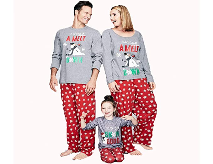 41fac3b565 Gyrategirl Family Matching Christmas Pajamas Pjs Set Holiday Santa Having a  Meltdown Snowflake Sleepwear Nightwear for