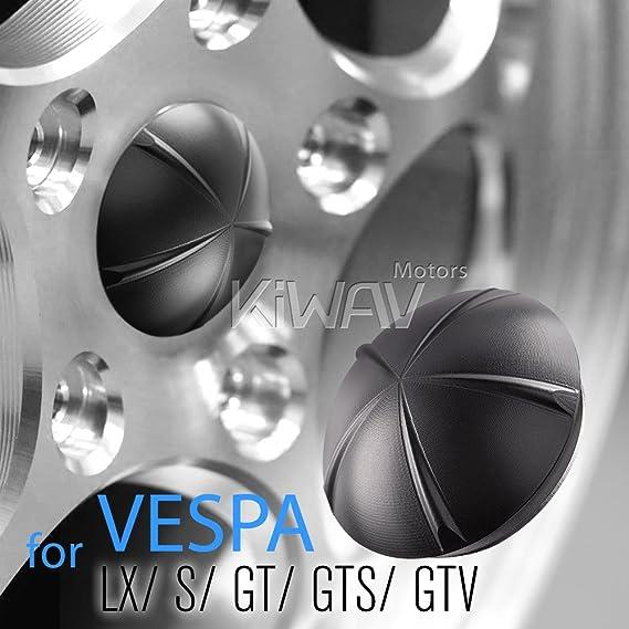 VAWiK Anodizado de Aluminio Mecanizado CNC 6061 Llantas de Aleación de Tapacubos Negro para Vespa: Amazon.es: Coche y moto