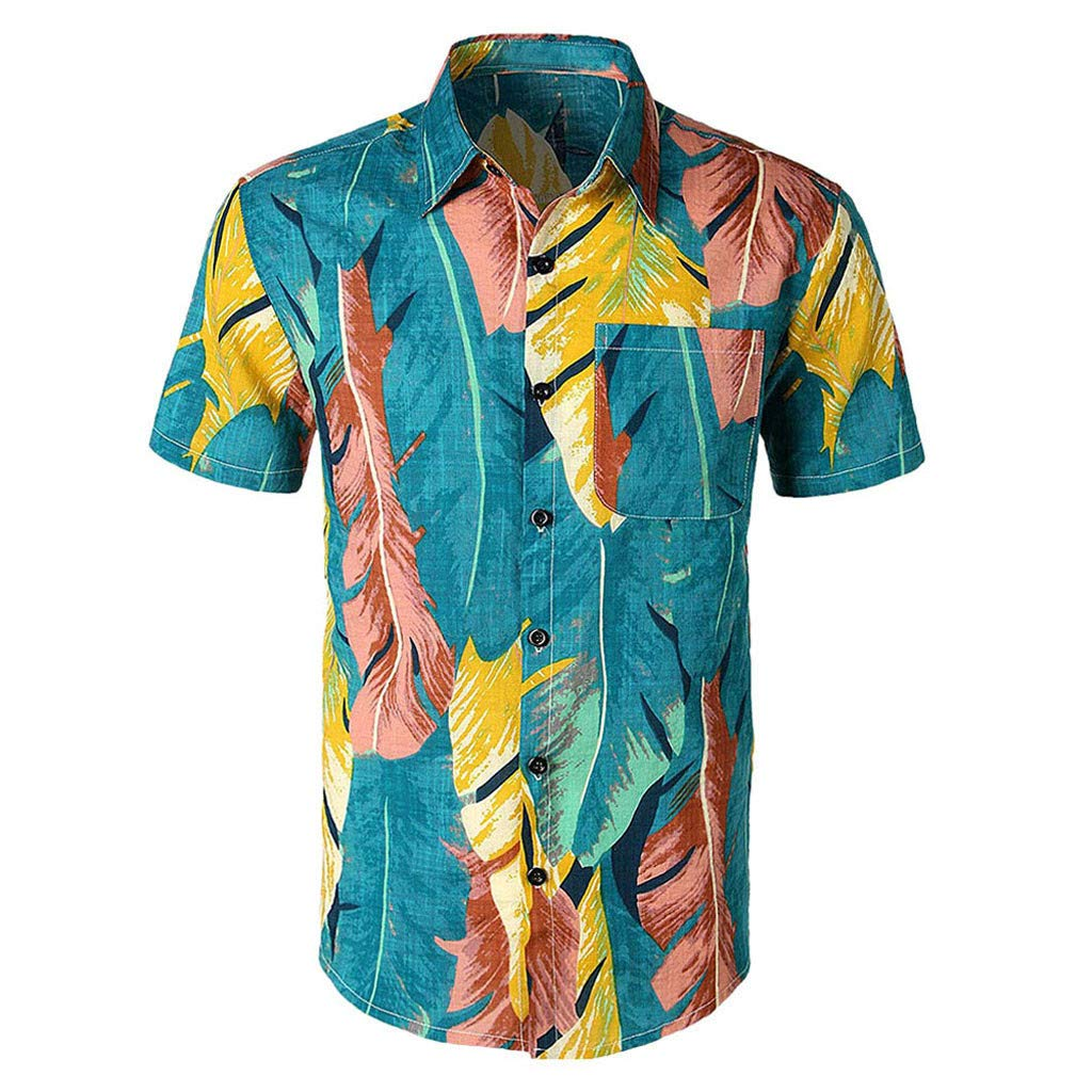 aiNMkm Round Neck Tank Tops,Men Casual Printed Button Down Short Sleeve Shirt Hawaiian Top Blouse,Blue,S