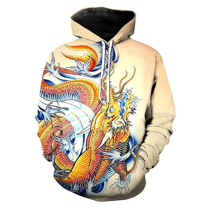 Sudaderas con Capucha Divertidas para Hombres/Mujeres Sudaderas Koi Dragon Tattoo Bolsillo con Capucha Impreso 3D Hip Hop Streetwear Sudadera con Capucha ...
