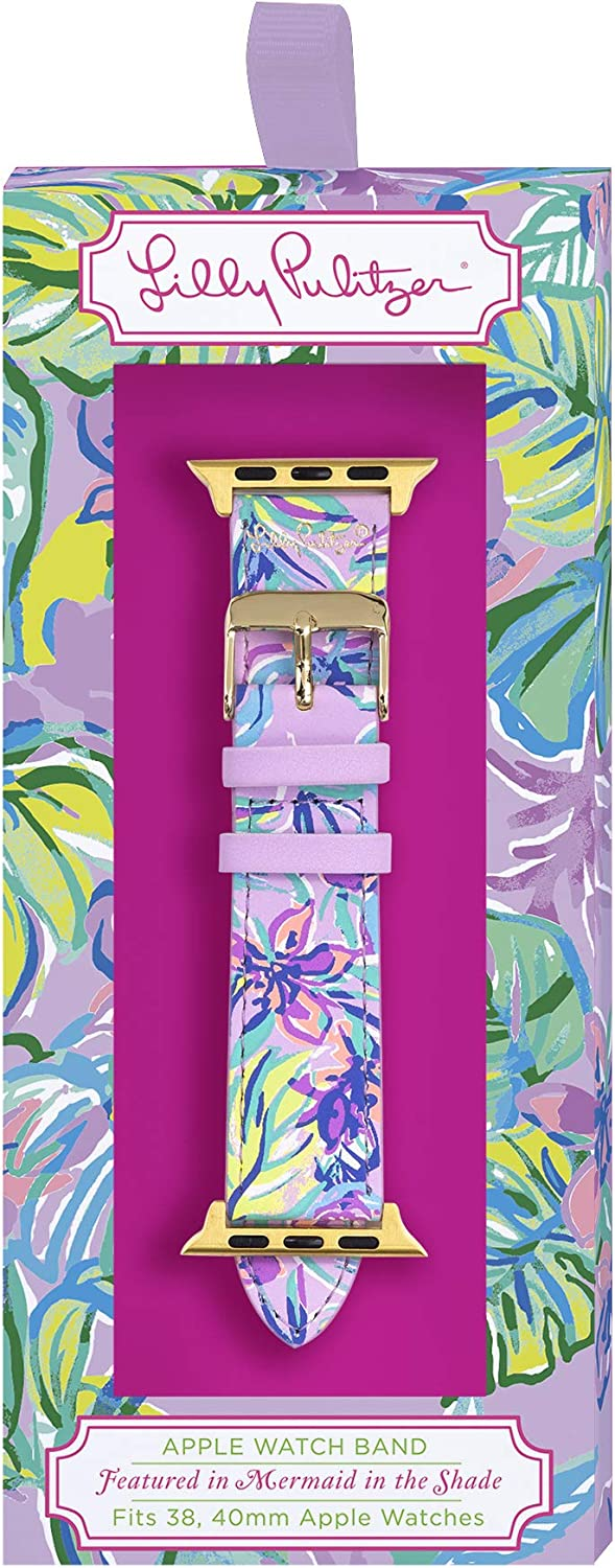 Lilly Pulitzer Purple Genuine Leather Watch Band Sized to Fit 38mm & 40mm Smartwatches Compatible with Apple Watch Series 1, 2, 3, 4 (Mermaid in The Shade)